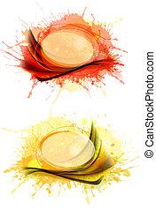 illustration., γραφικός , αφαιρώ , συλλογή , νερομπογιά , banners., μικροβιοφορέας