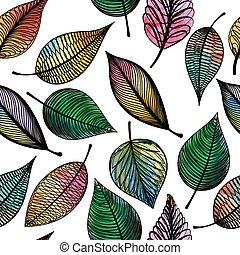 illustration., γραφικός , πρότυπο , αφαιρώ , leaves., seamless, μικροβιοφορέας