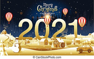 illustration., εύθυμος , ευτυχισμένος , χρυσαφένιος , έτος , xριστούγεννα , φαντασία , μικροβιοφορέας , καλλιγραφία , καινούργιος