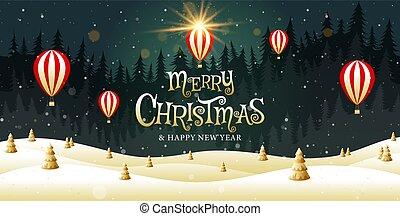 illustration., εύθυμος , ευτυχισμένος , χρυσαφένιος , έτος , xριστούγεννα , φαντασία , μικροβιοφορέας , καλλιγραφία , τοπίο , καινούργιος
