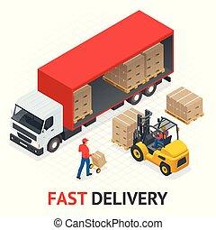 illustration., κουτιά , μικροβιοφορέας , αχυρόστρωμα , ελεύθερος , φορτίο , κατάστημα , γρήγορα , service., παράδοση , isometric , transport., διαδικασία