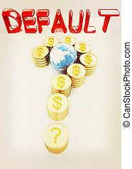 illustration., μορφή , κρασί , κέρματα , ερώτηση , δολάριο , σημαδεύω , χρυσός , σήμα , style., 3d