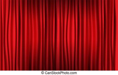 illustration., ρεαλιστικός , μικροβιοφορέας , κλείνω , curtain., κόκκινο , βλέπω