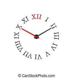 illustration., ρωμαϊκός , μικροβιοφορέας , dial., αριθμητικό , ρολόι
