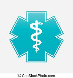 illustration., σύμβολο , μικροβιοφορέας , ιατρικός , caduceus