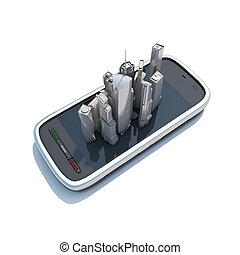 illustration., τηλέφωνο , κινητός , αντιστοιχίζω , πλεύση , κομψός , 3d