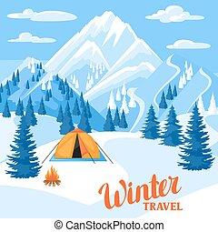 illustration., τοπίο , βουνά , χιονάτος , χειμώναs , trawel, όμορφος , δάσοs , κατασκηνώνω , ελάτη