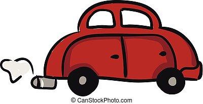 illustration., χρώμα , μικροβιοφορέας , αυτοκίνητο , ή , κόκκινο