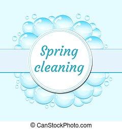 illustration., весна, рамка, белый, isolated, style., задний план, вектор, уборка, bubbles, concept., мыло, мультфильм