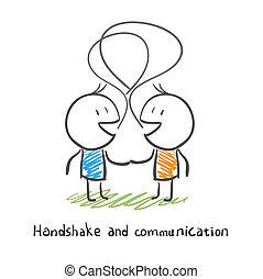 illustration., люди, два, socialize., поколебать, руки