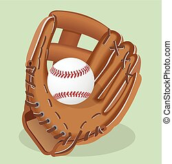 illustration., перчатка, реалистический, вектор, бейсбол,...