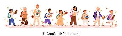 illustration., סתו עוזב, אוסף, הפרד, קבע, אמצע, או, ספרים, וקטור, יסודי, ילקוט, שמח, להחזיק, בחורים, שקית, בית ספר, ללכת, תלמידים, ילדות, הקף, white., ילדים