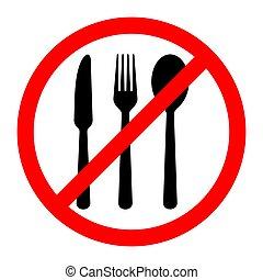 illustration., いいえ, ベクトル, 印。, 食べること