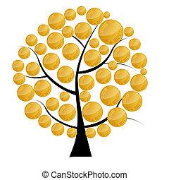 illustration., お金, コイン, 木, イラスト, ベクトル