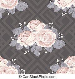illustration., ばら, 葉, pattern., 灰色, seamless, バックグラウンド。, ベクトル, 花, 幾何学的