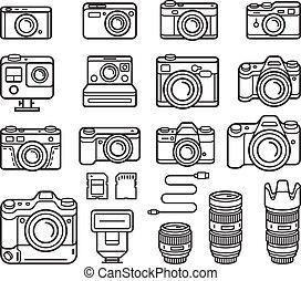 illustration., アイコン, カメラ, set., ベクトル, 線