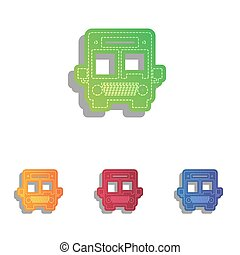 illustration., アイコン, バス, set., colorfull, アップリケ, 印