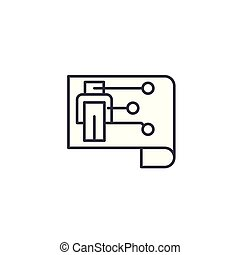 illustration., アイコン, 印, concept., ロボット, シンボル, ベクトル, 線, 案, 線である