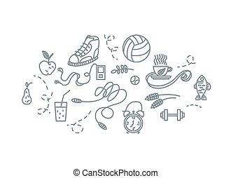 illustration., アイコン, 手, 装置, ベクトル, 引かれる, スポーツ