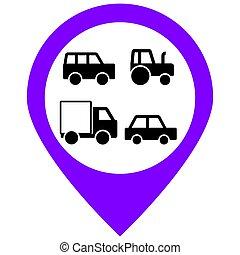 illustration., アイコン, 自動車, set., ベクトル, 輸送
