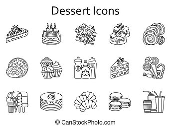 illustration., アイコン, 食物, collection., set., ベクトル, デザート, 甘い, 線