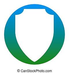 illustration., アイコン, isolated., 印, バックグラウンド。, vector., 白, 薄青い, 円, 保護