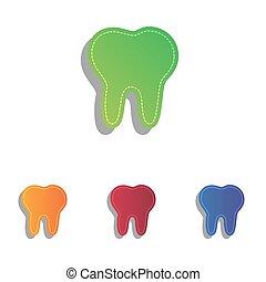 illustration., アイコン, set., 印, colorfull, アップリケ, 歯