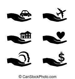 illustration., アイコン, set., 手, ベクトル, 保険