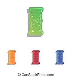 illustration., アイコン, set., colorfull, アップリケ, 印, 砂時計