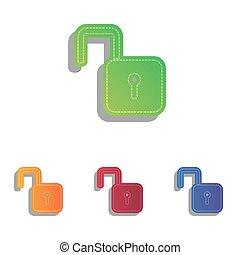 illustration., アイコン, set., colorfull, 錠を開けなさい, アップリケ, 印