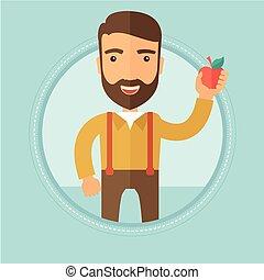 illustration., アップル, 若い, ベクトル, 保有物, 人