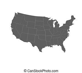 illustration., アメリカ, 州