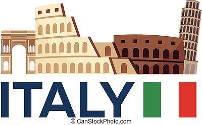 illustration., イタリア, 旅行, ローマ, ベクトル, skyline.