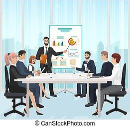 illustration., オフィス, 先導, プレゼンテーション, マネージャー, ベクトル, ビジネスマン, の間, ミーティング