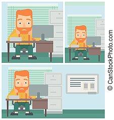 illustration., オフィス, 疲れた, モデル, ベクトル, 人