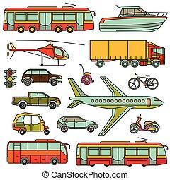 illustration., カラフルである, アイコン, set., ベクトル, 線, 輸送