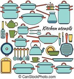 illustration., カラフルである, アイコン, set., 道具, ベクトル, 台所
