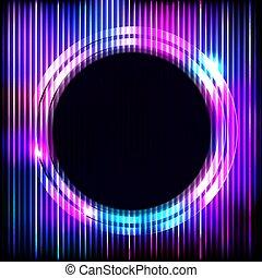 illustration., カラフルである, 抽象的, ネオン, ラウンド, 暗い背景, ベクトル, フレーム