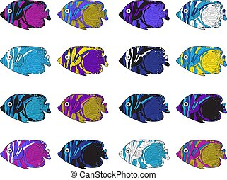 illustration., カラフルである, drawing., fish, 手, ベクトル, set.