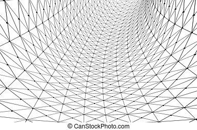 illustration., カーブ, 隔離された, lines., 背景, デザイン, 建築, ファサド, 白, 3d