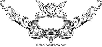 illustration., キューピッド, ベクトル, 黒, 白, heraldry.