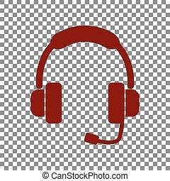 illustration., サポート, くり色, 印, 背景, 透明, アイコン