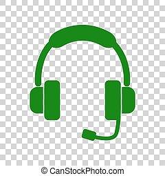 illustration., サポート, 印, 暗い, バックグラウンド。, 緑, 透明, アイコン