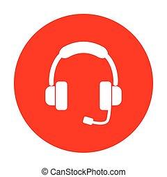 illustration., サポート, 印, 白, circle., 赤, アイコン