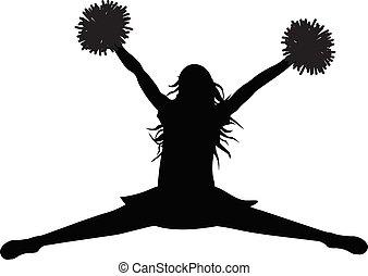 illustration., シルエット, ベクトル, 跳躍, cheerleading., 女の子, jump), pompoms, (stredl