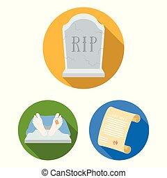 illustration., シンボル, attributes, ベクトル, コレクション, 葬儀, design., 式, 葬式, アイコン, 平ら, セット, 網, 株