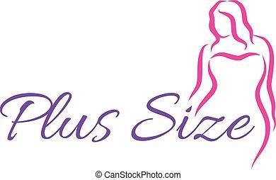 illustration., シンボル。, curvy, ベクトル, プラス, ロゴ, woman., 大きさ
