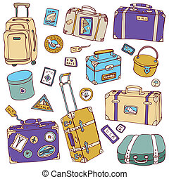 illustration., スーツケース, 型, set., ベクトル, 旅行