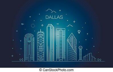 illustration., ダラス, ランドマーク, 有名, スカイライン, ベクトル, 建築, 都市の景観, 線, テキサス, 線である