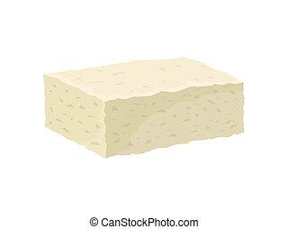 illustration., チーズ, ベクトル, バックグラウンド。, feta, 白